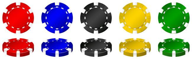Casinofiches in veel kleuren vector