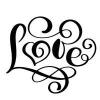 handgeschreven inscriptie LIEFDE Happy Valentijnsdag kaart, romantische citaat voor ontwerp wenskaarten, tatoeage, vakantie-uitnodigingen, foto overlays, t-shirt print, flyer, posterontwerp