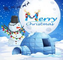 Kerstthema met sneeuwman en iglo vector
