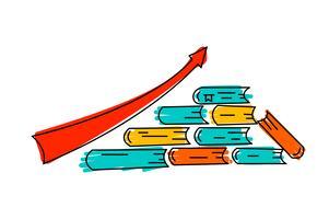 Ondersteuning bij groei. De vector bedrijfsillustratiekennis helpt om op pijl en steunende hand op zijn lineair het conceptenpictogram van het manier modern vlak ontwerp op witte achtergrond te groeien