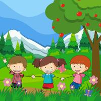 Drie kinderen die in het park spelen vector