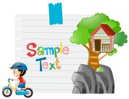 Ontwerp voor een papieren met een jongen op de fiets