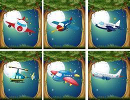 Vliegtuigen en copters die 's nachts vliegen vector