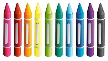 Een reeks kleurrijke kleurpotloden