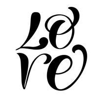 handgeschreven inscriptie LIEFDE Happy Valentijnsdag kaart, romantische citaat voor ontwerp wenskaarten, tatoeage, vakantie-uitnodigingen, foto overlays, t-shirt print, flyer, posterontwerp vector
