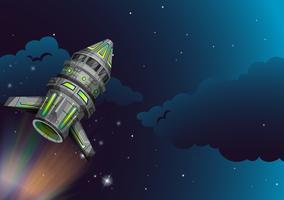Raket die in de donkere ruimte vliegen