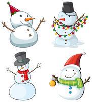Vier sneeuwmannen vector
