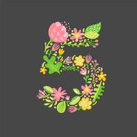 Bloemen zomer nummer 5 vijf. Bloem Hoofdstad bruiloft alfabet. Kleurrijke lettertype met bloemen en bladeren. Vector illustratie Skandinavische stijl