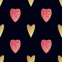 Naadloos gouden patroon met harten.
