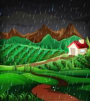 Aardscène met het regenen in de helling vector