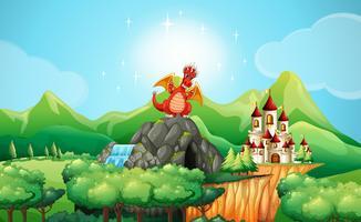 Draak op de grot bij het kasteel