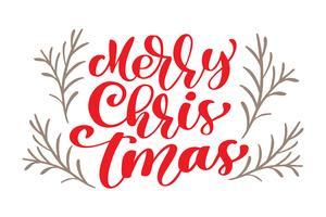 tekst Merry Christmas handgeschreven kalligrafie letters. handgemaakte vectorillustratie. Leuke penseelinkt typografie voor foto-overlays, t-shirt print, flyer, posterontwerp vector