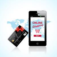 Online winkelen met de smartphone vector