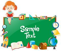 Frame ontwerp met meisje leesboek en school objecten vector