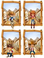 Vier scènes van cowboys en cowgirl