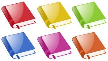 Boeken in zes verschillende kleuren