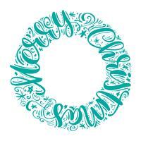 Vrolijke Kerstmis hand-van letters voorziende die tekst in een cirkel wordt geschreven. Handgemaakte vector kalligrafie-collectie Scandinavische stijl