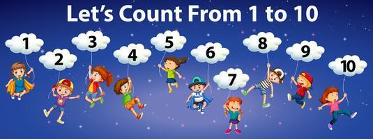 Wiskunde telt van nummer tot 10
