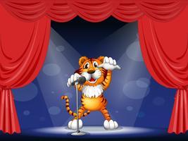 Een tijger in het midden van het podium