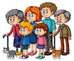 Familieleden met ouders en kinderen