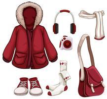 Kleding en accessoires in rode kleur vector