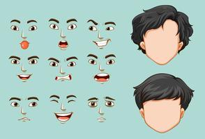Anonieme man en verschillende gezichten met emoties