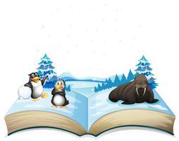 Boek van zeeleeuw en pinguïnen op ijs vector