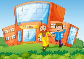 Schoolscène met twee moslimkinderen vector