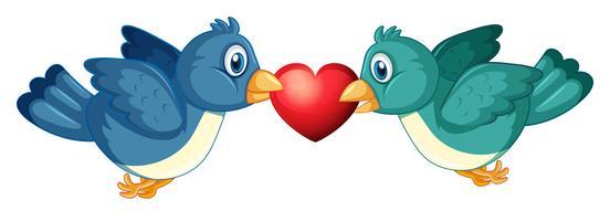 Twee blauwe vogels en hart vector
