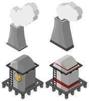 Brandstoftanks en schoorstenen met rook vector