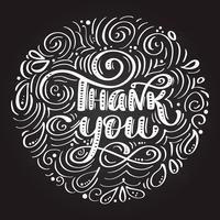 Dank u handgeschreven inscriptie. Hand getrokken belettering. Bedankt kalligrafie op een schoolbord in de vorm van een cirkel vector