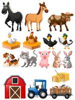 Landbouwhuisdieren met schuur en tractor