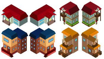 3D-ontwerp voor verschillende stijlen van huizen vector