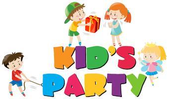 Posterontwerp met kinderen op feestje