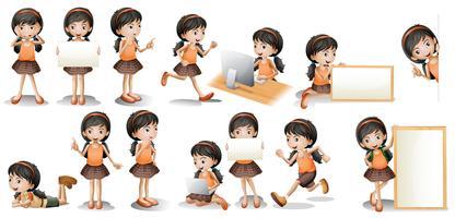 Meisje en teken vector