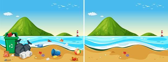 Een set vies en schoon strand