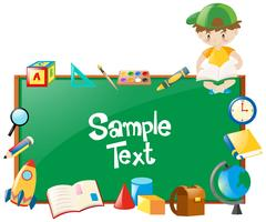 Grensontwerp met jongen en veel schoolvoorwerpen