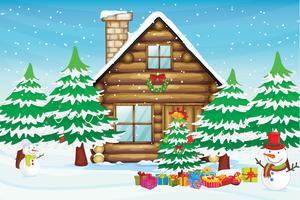 sneeuwmannen en huis