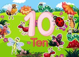 Tien verschillende insectensjabloon