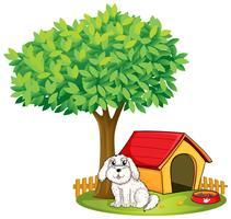 Een witte puppy naast een hondenhok onder een grote boom