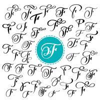 Set van hand getrokken vector kalligrafie brief F. Script lettertype. Geïsoleerde brieven geschreven met inkt. Handgeschreven penseelstijl. Hand belettering voor logo's verpakking ontwerp poster. Typografische reeks op witte achtergrond