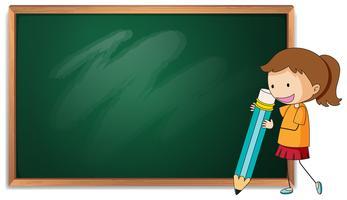 Meisje op schoolbordsjabloon