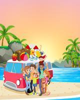 Familie plezier op het strand vector