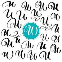 Stel de letter U. Hand getrokken vector bloeien kalligrafie. Script lettertype. Geïsoleerde brieven geschreven met inkt. Handgeschreven penseelstijl. Hand belettering voor logo's verpakking ontwerp poster