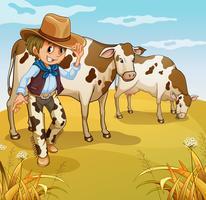 Een cowboy met twee koeien die eten