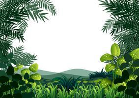Achtergrondkader met heuvels en gras vector