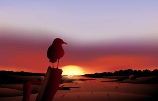 Een vogel in een zonsondergangmening van de woestijn