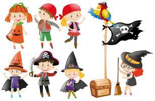 Halloween set met kinderen in kostuums vector