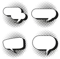 Vier ontwerp van tekstballonnen