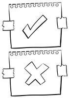Papier met correcte en onjuiste tekens